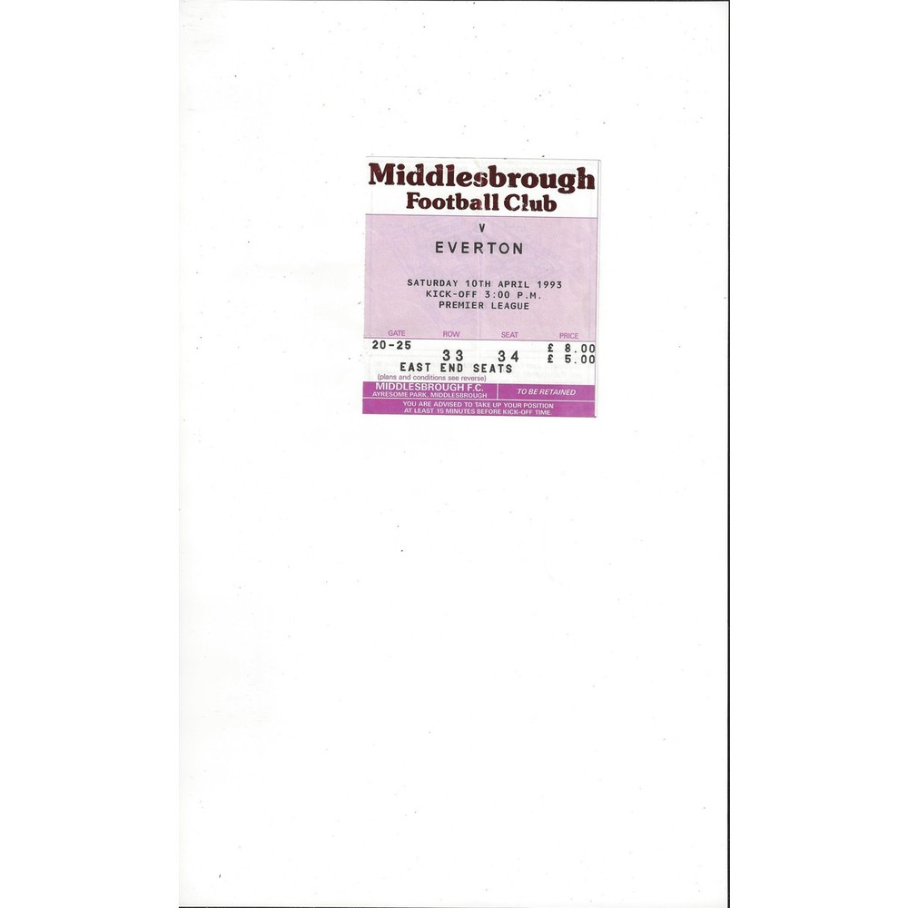 Middlesbrough v Everton Match Ticket Stub 1992/93