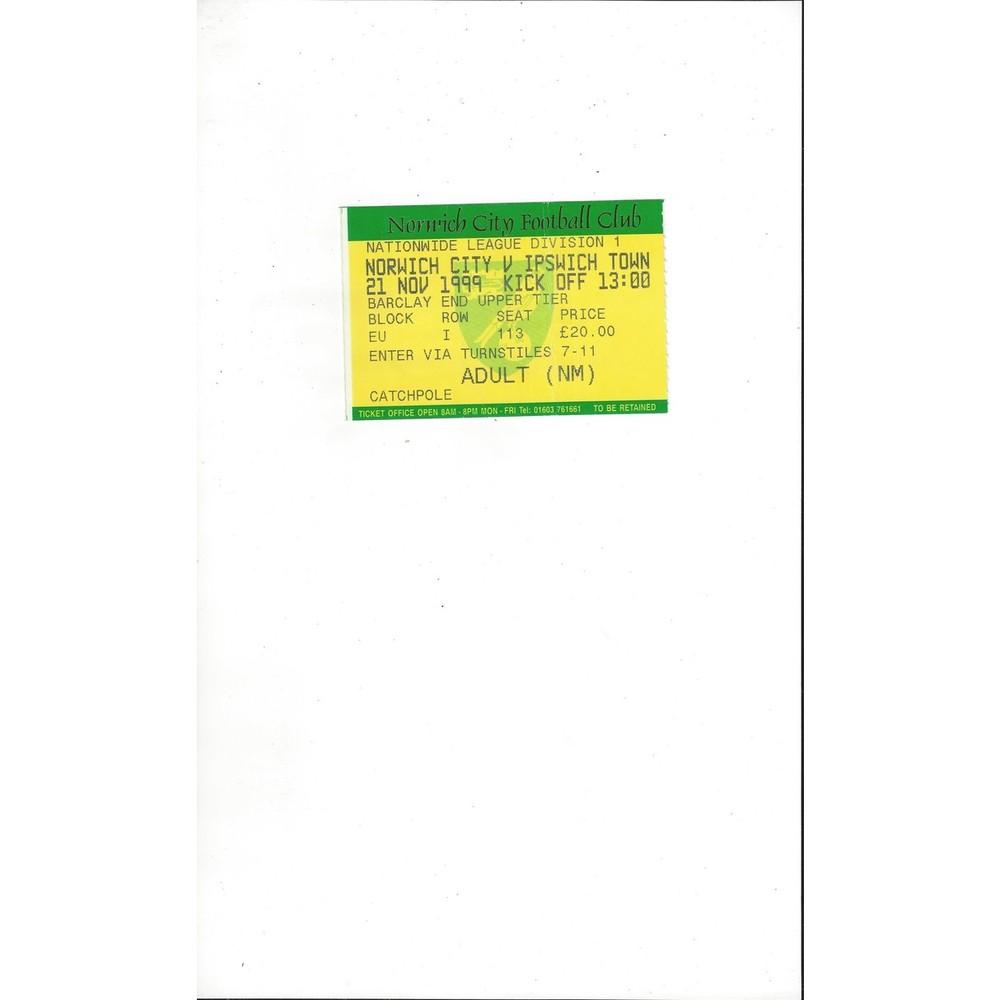 Norwich City v Ipswich Town Match Ticket Stub 1999/00