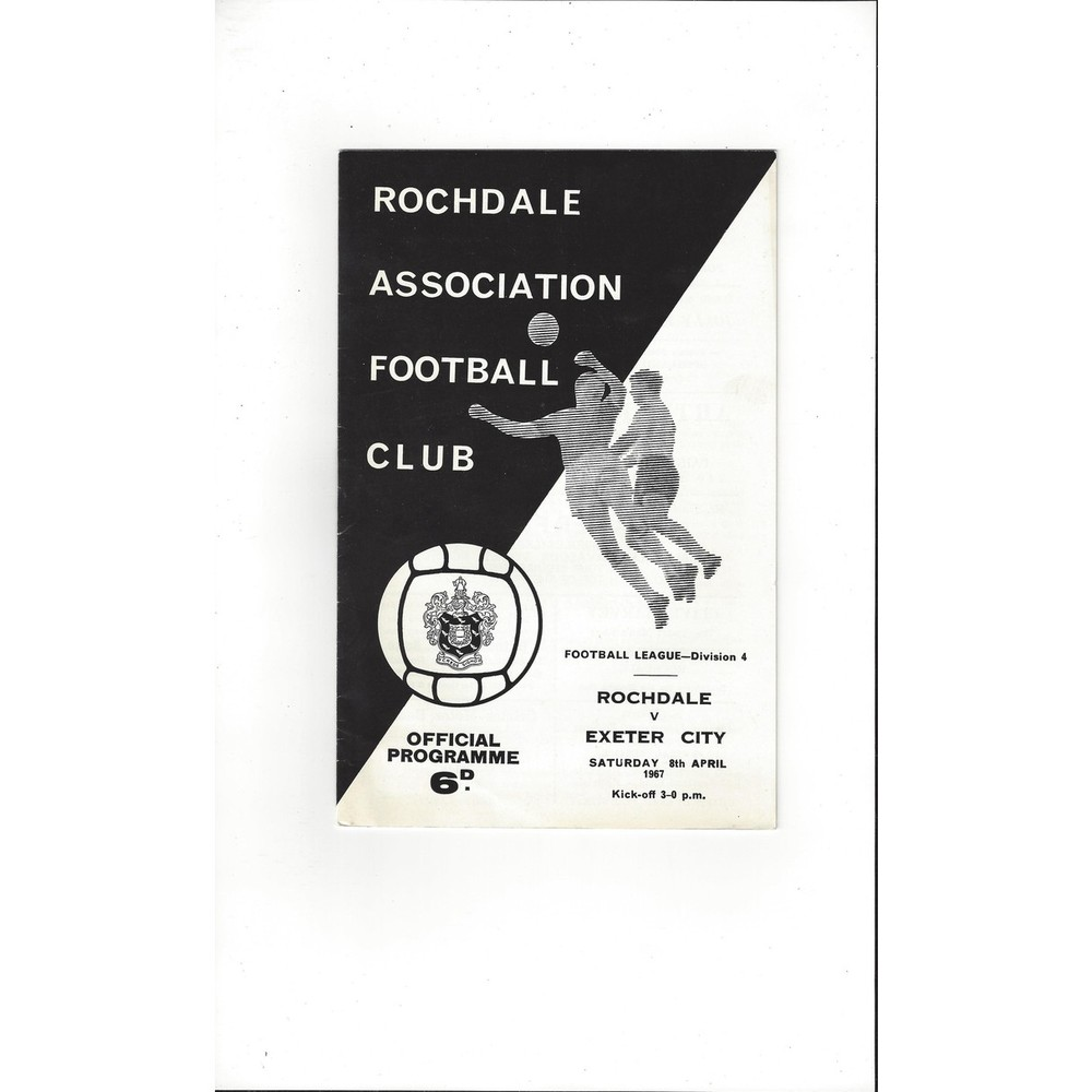 1966/67 Rochdale v Exeter City Football Programme