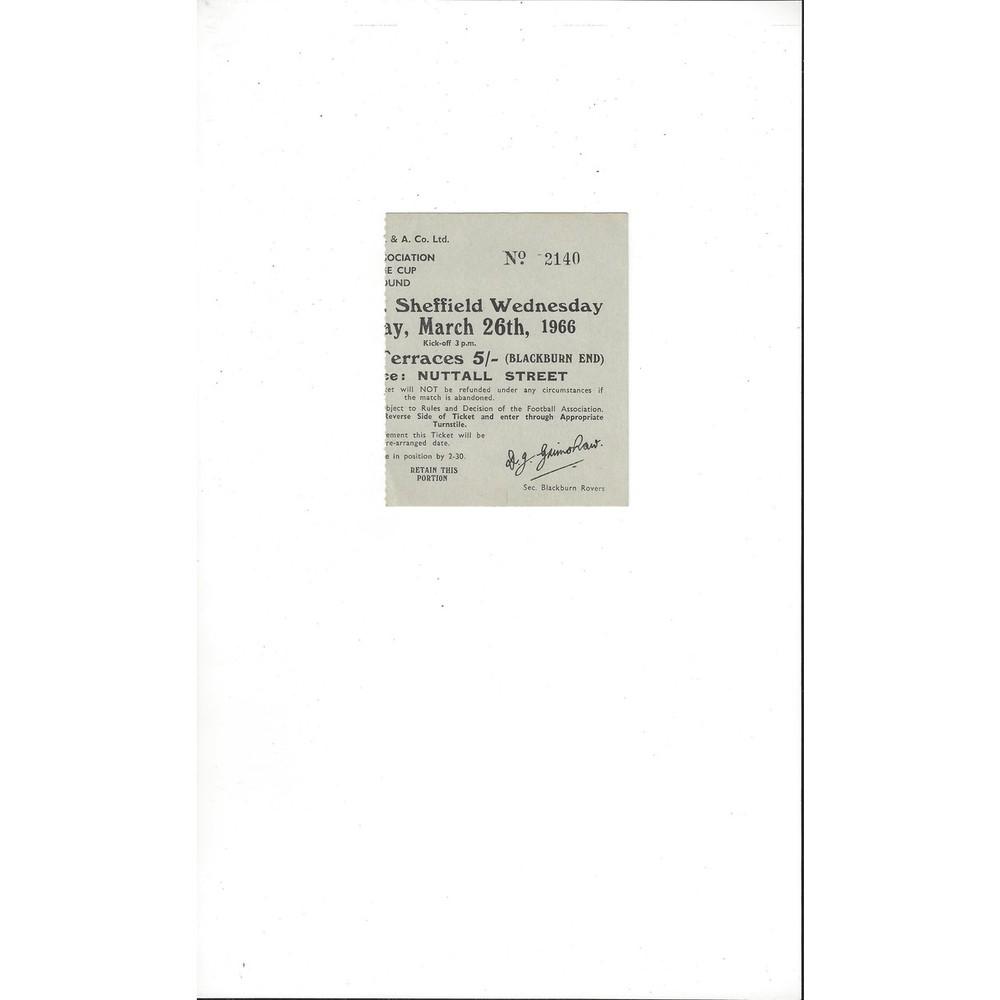 Blackburn Rovers v Sheffield Wednesday Match Ticket Stub 1966