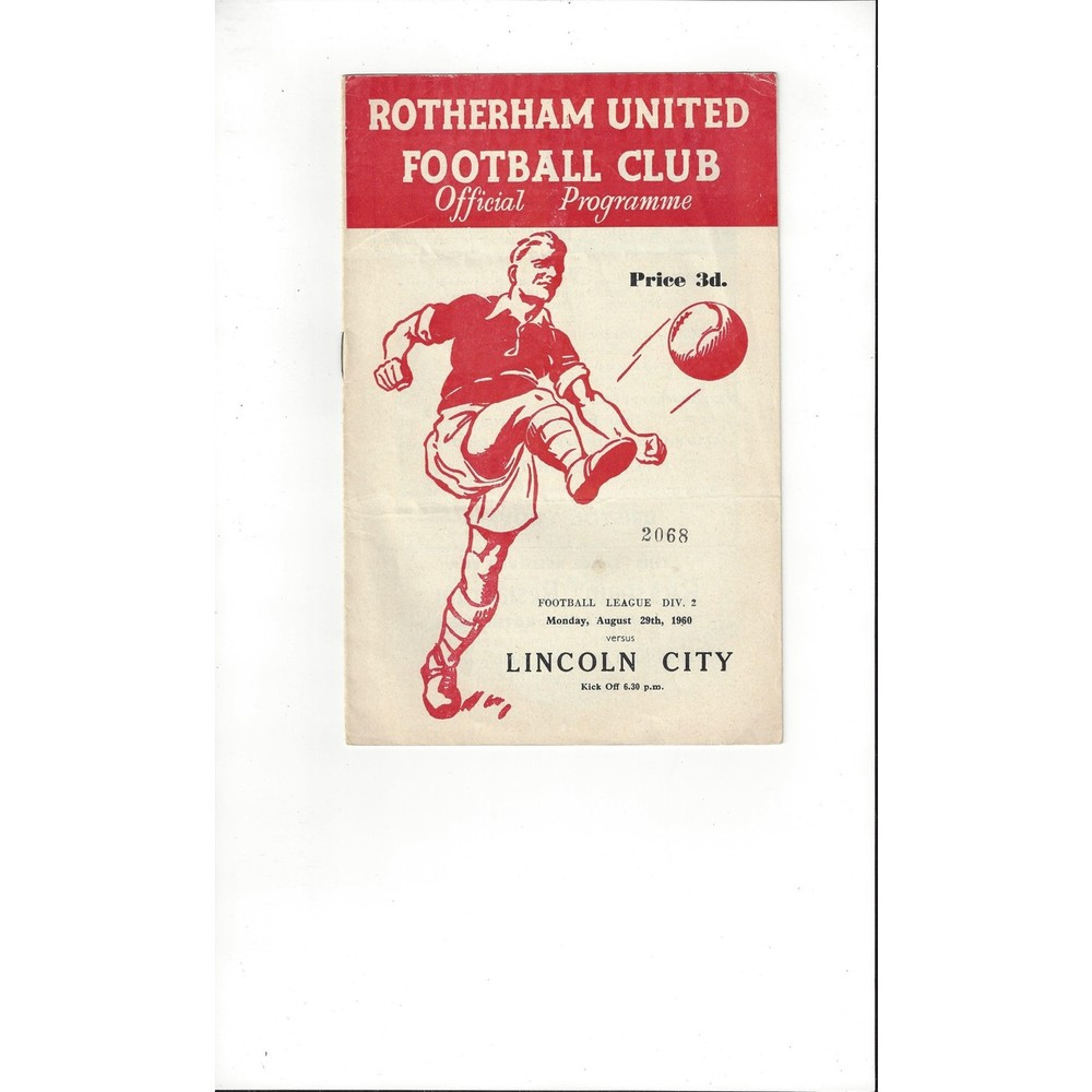 1960/61 Rotherham United v Lincoln City Football Programme