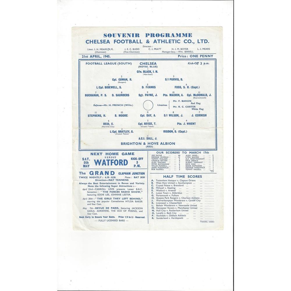1944/45 Chelsea v Brighton League South Football Programme
