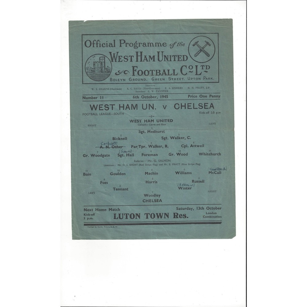 1945/46 West Ham United v Chelsea League South Football Programme
