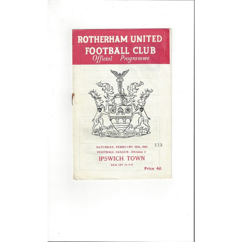 1964/65 Rotherham United v Ipswich Town Football Programme