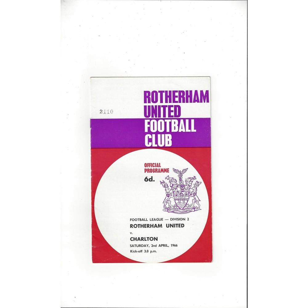 1965/66 Rotherham United v Charlton Athletic Football Programme