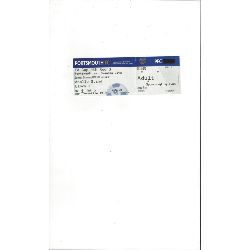 Portsmouth v Swansea City FA Cup Match Ticket Stub 2008/09