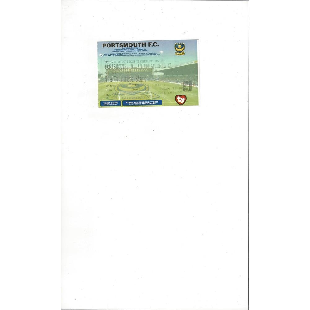 Portsmouth v International X1 Claridge Benefit Match Ticket Stub 2002/03
