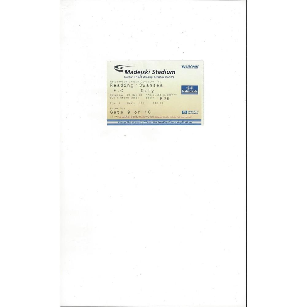 Reading v Swansea City Match Ticket Stub 2000/01