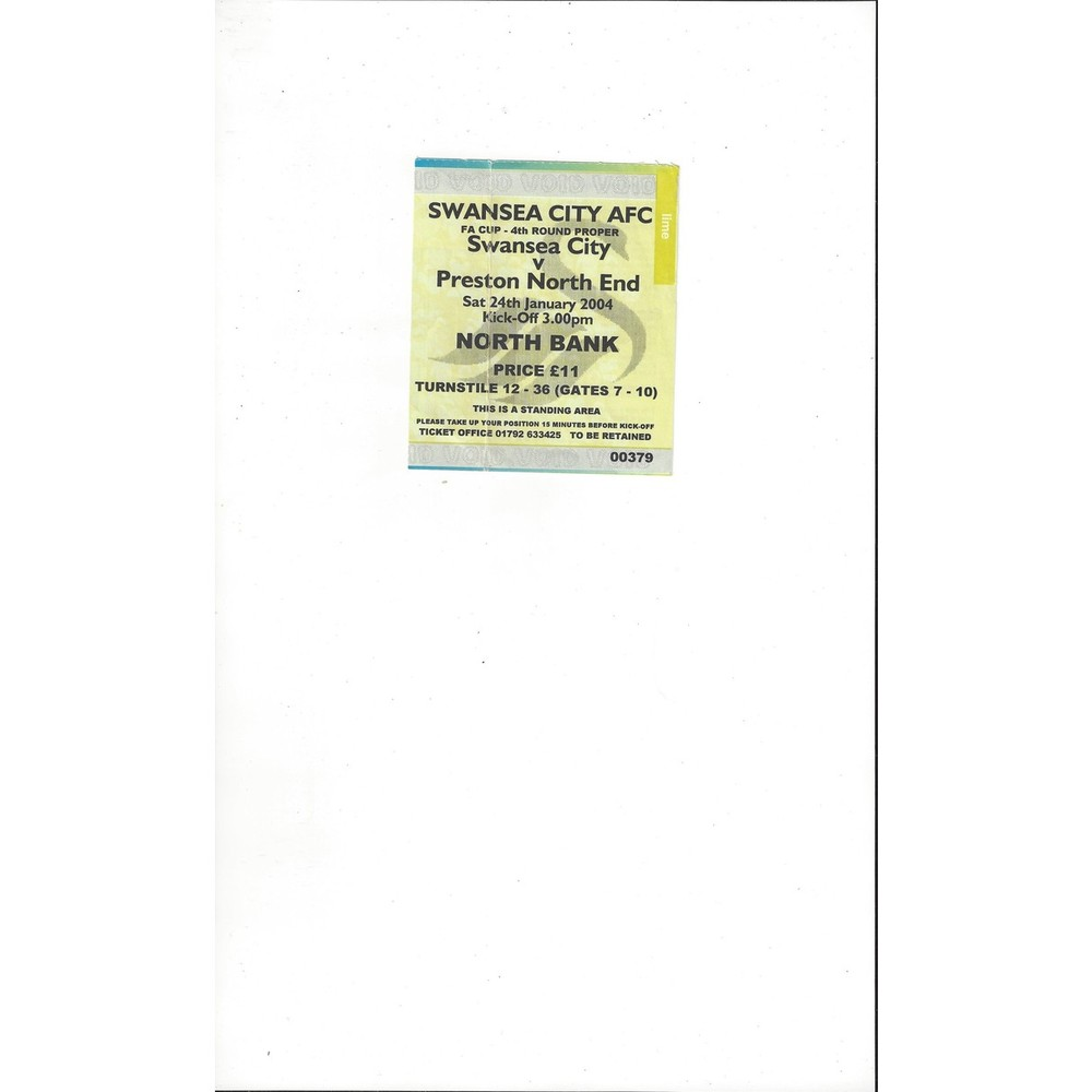 Swansea City v Preston FA Cup Match Ticket Stub 2003/04