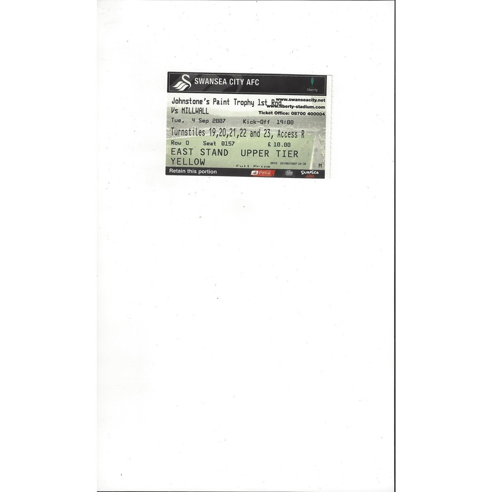 Swansea City v Millwall JPT Match Ticket Stub 2007/08