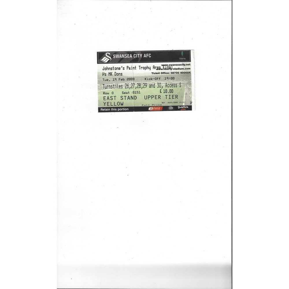 Swansea City v MK Dons JPT Match Ticket Stub 2007/08