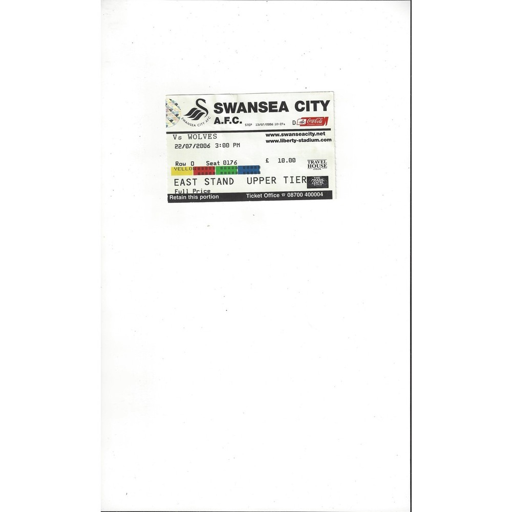 Swansea City v Wolves Match Ticket Stub 2006/07