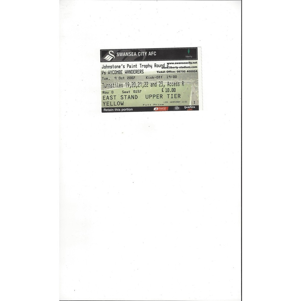 Swansea City v Wycombe Wanderers JPT Match Ticket Stub 2007/08