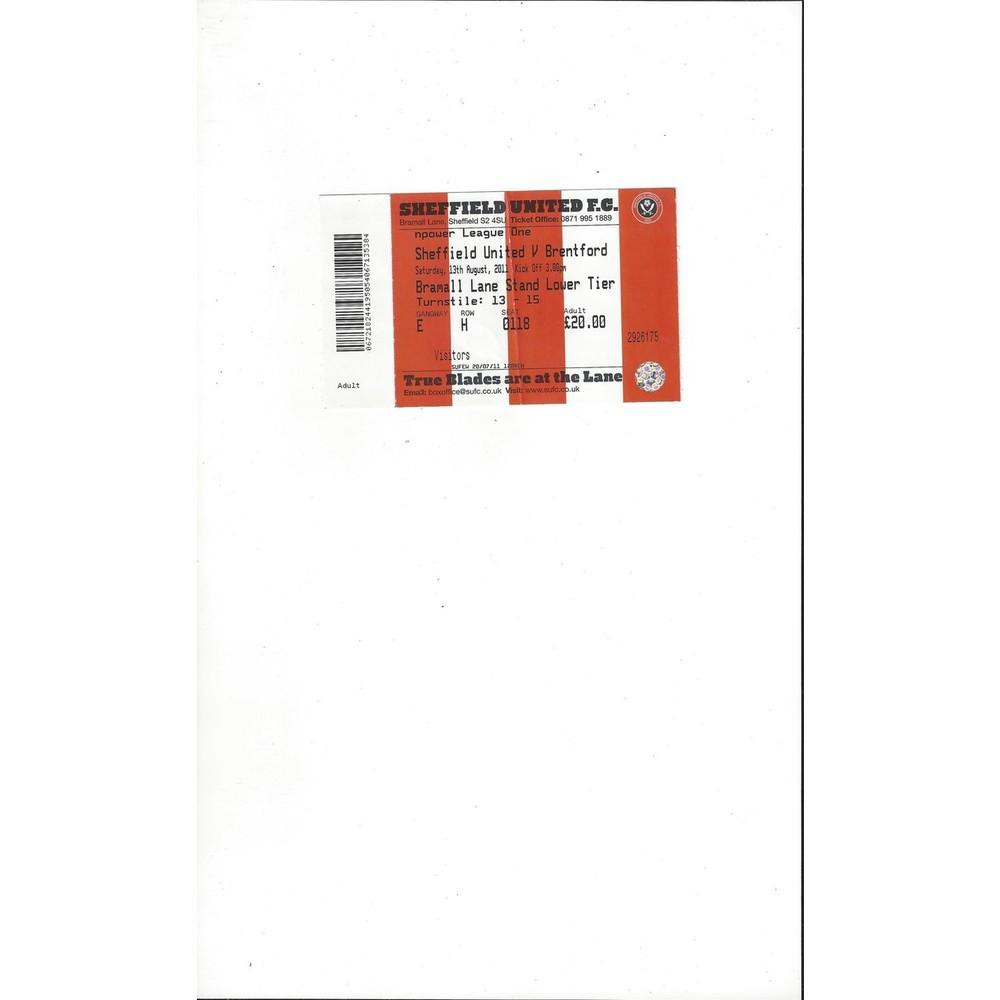 Sheffield United v Brentford Match Ticket Stub 2011/12