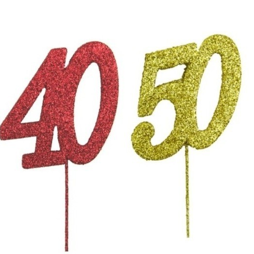Glitter Numbers 40 red 50 gold