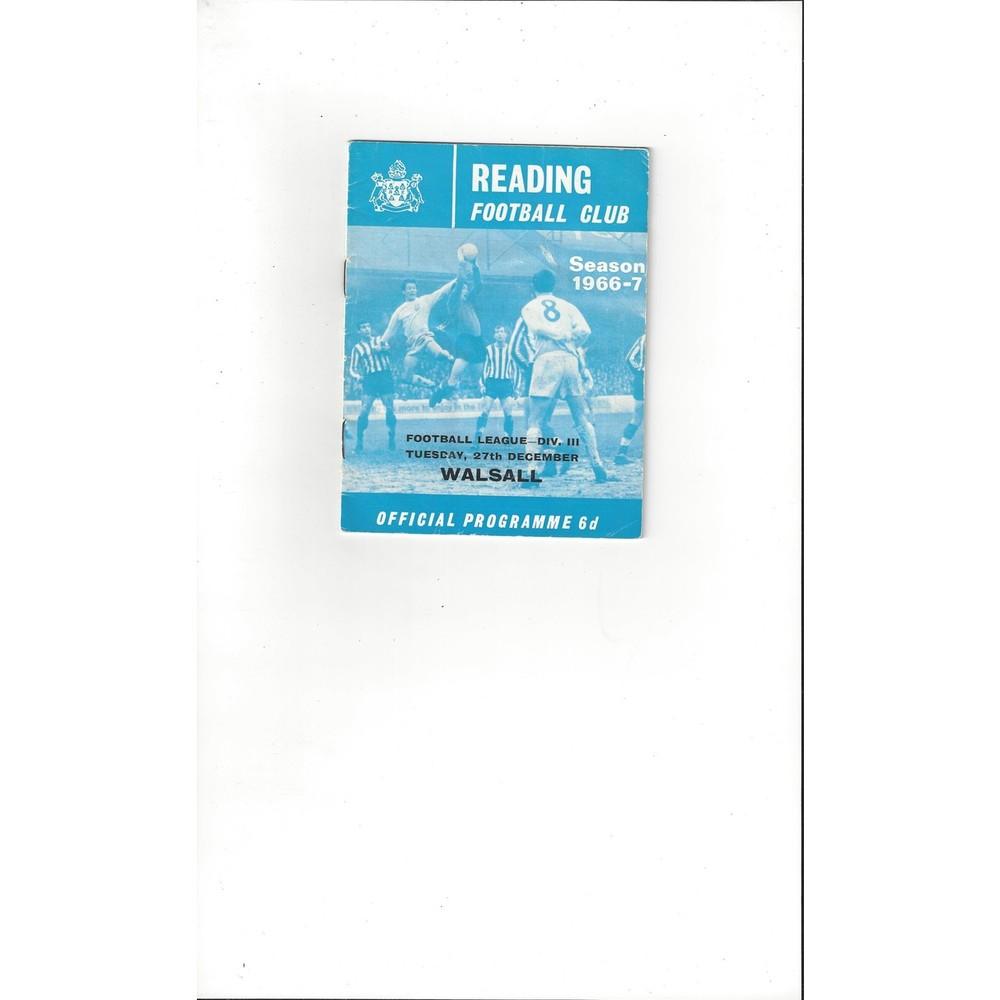 1966/67 Reading v Walsall Football Programme