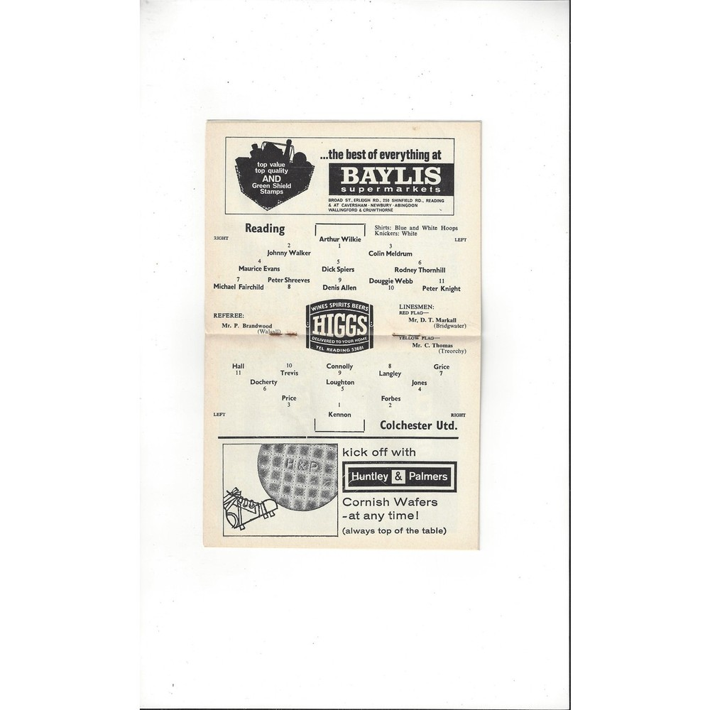 Reading v Colchester United 1964/65