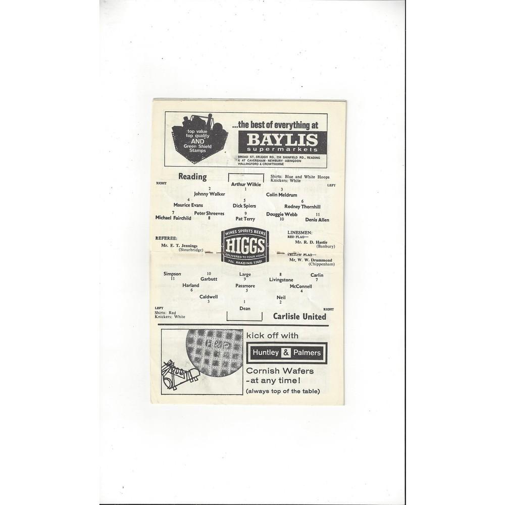 Reading v Carlisle United 1964/65