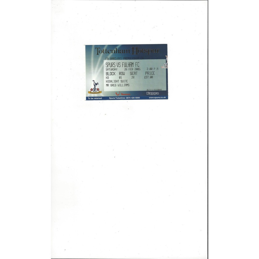 Tottenham Hotspur v Fulham Match Ticket Stub 2004/05