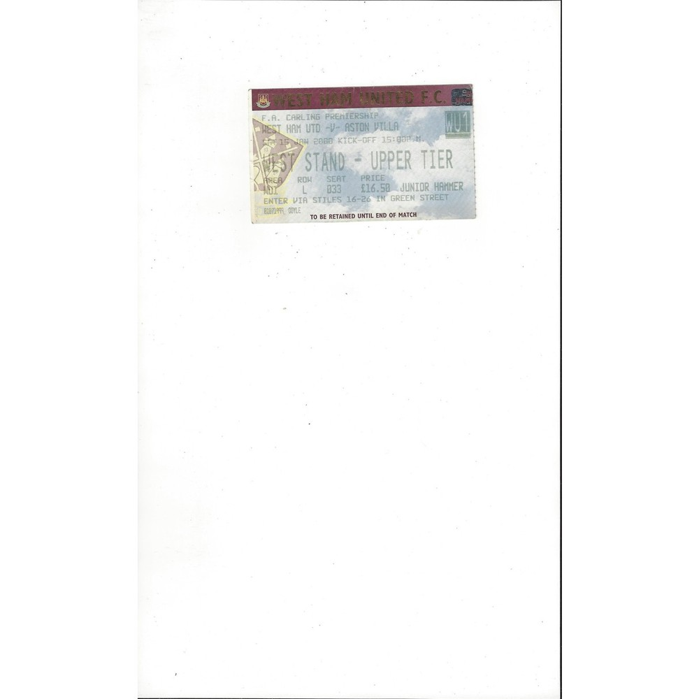 West Ham United v Aston Villa Match Ticket Stub 1999/00