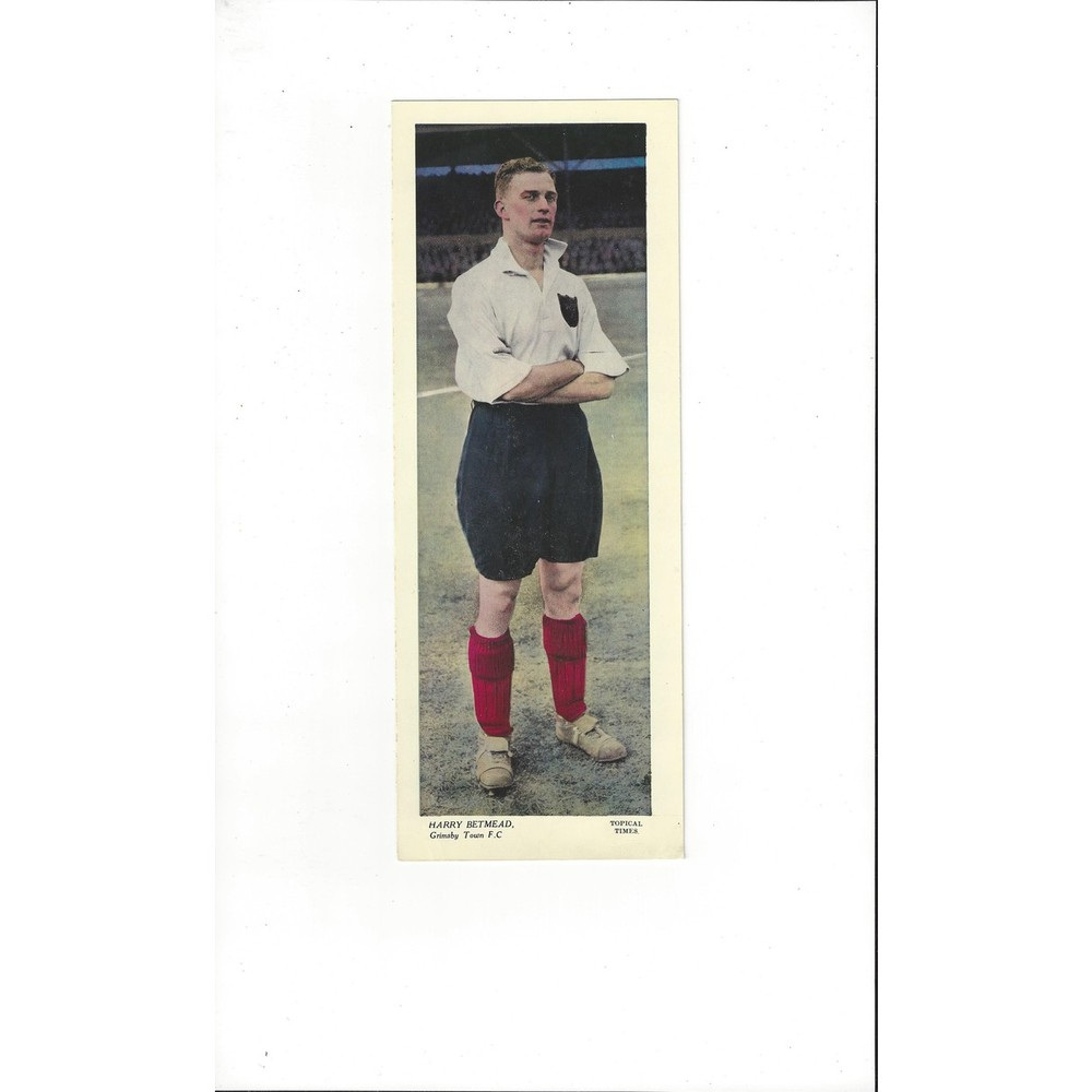 Topical Times Colour Card 1930's - Harry Betmead Grimsby Town