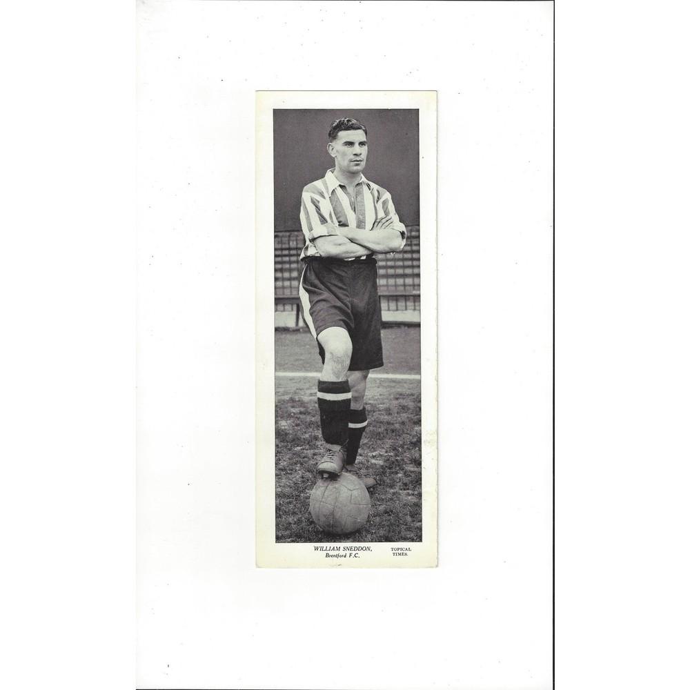 Topical Times Black & White Card 1930's - William Sneddon Brentford