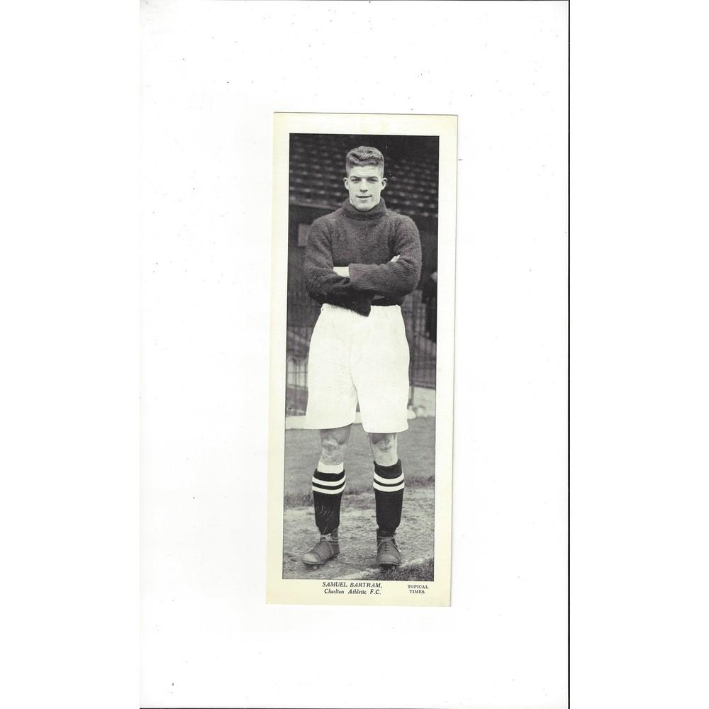 Topical Times Black & White Card 1930's - Samuel Bartram Charlton Athletic