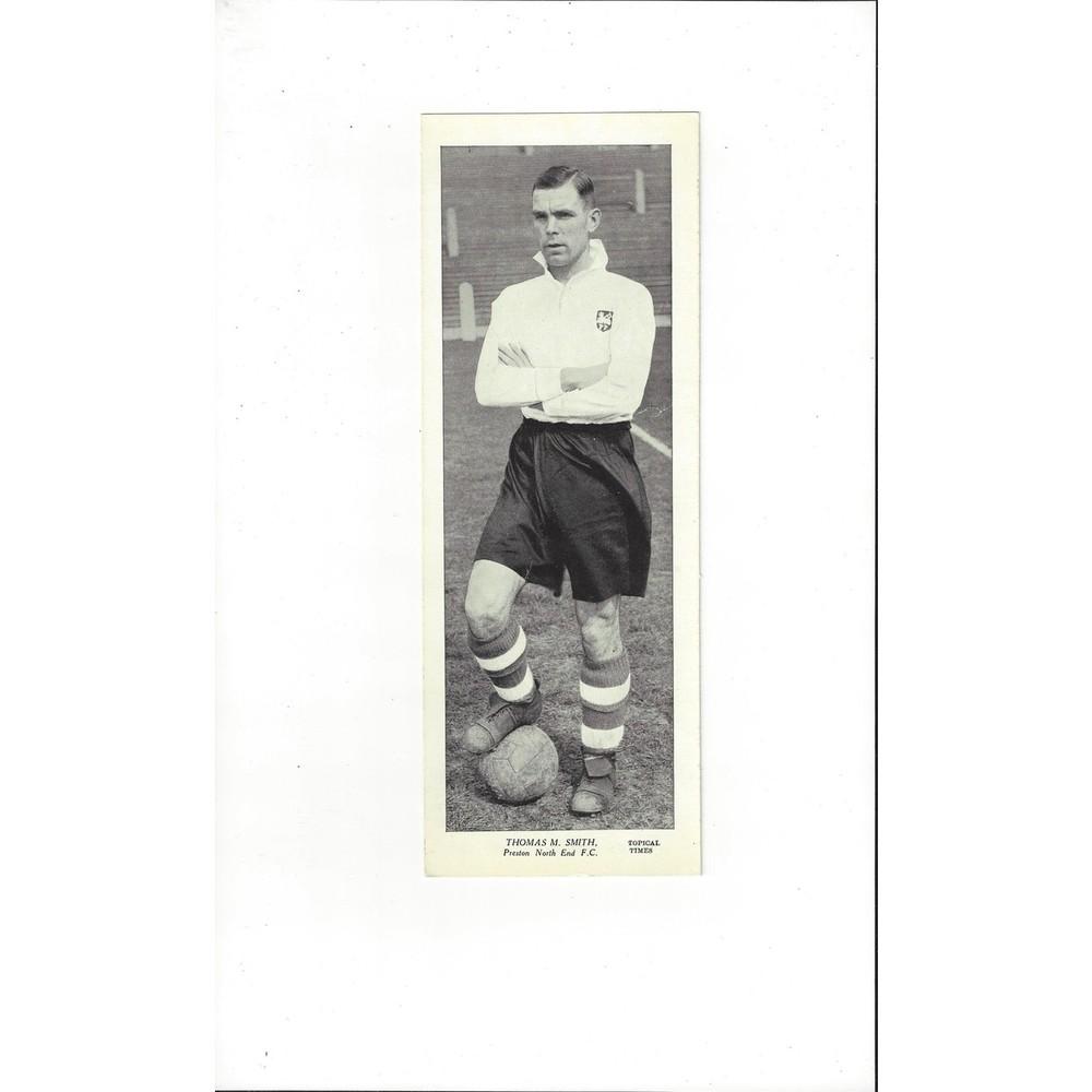 Topical Times Black & White Card 1930's - Thomas M. Smith Preston North End