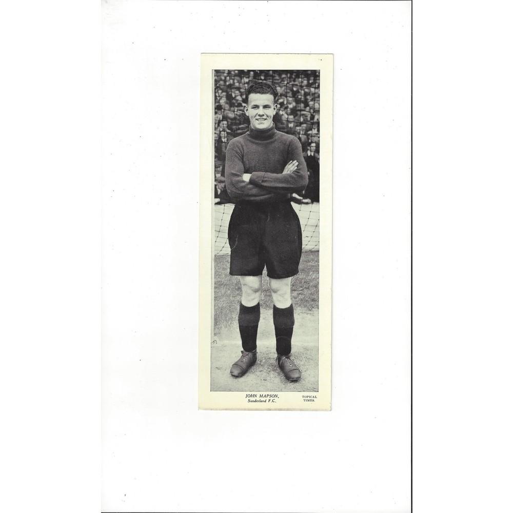 Topical Times Black & White Card 1930's - John Mapson Sunderland
