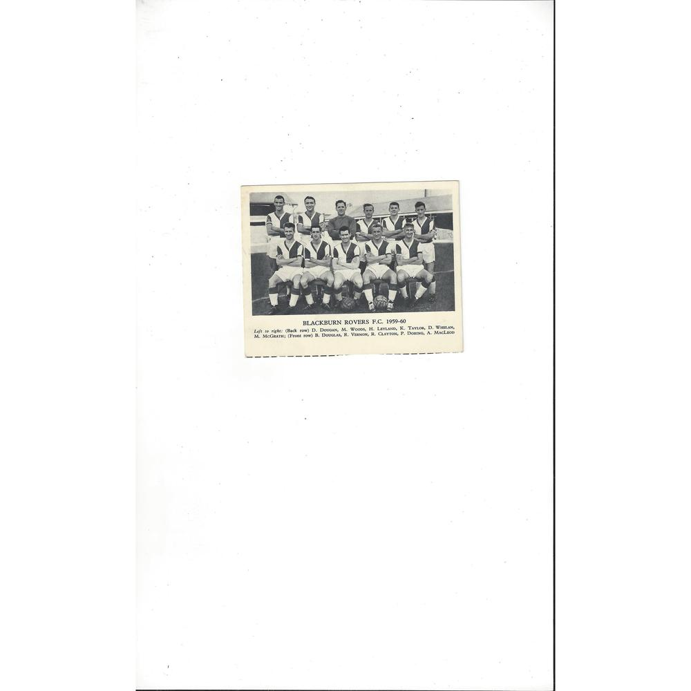 Blackburn Rovers Football Team Card 1959/60