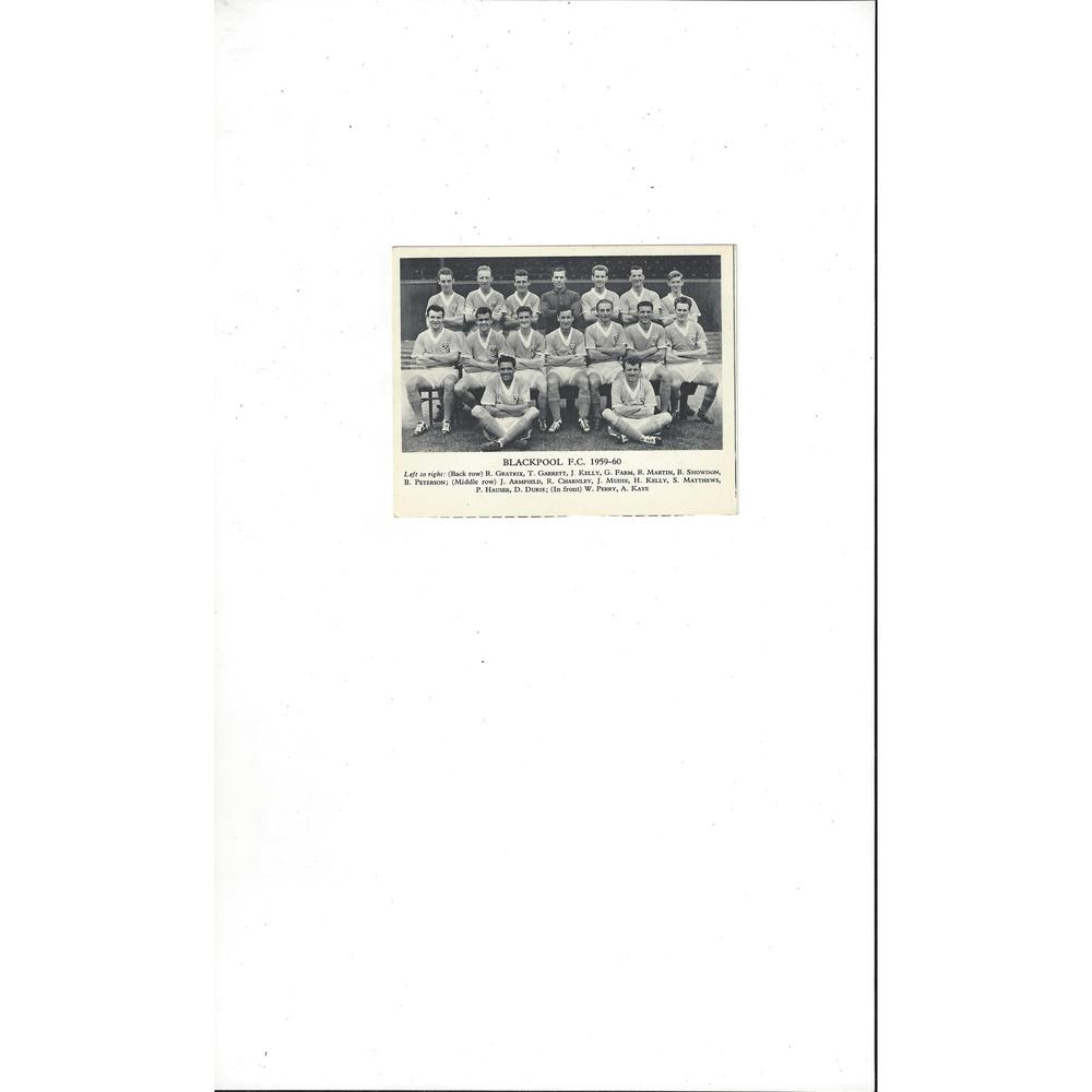 Blackpool Football Team Card 1959/60