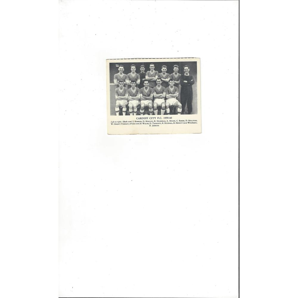 Cardiff City Football Team Card 1959/60