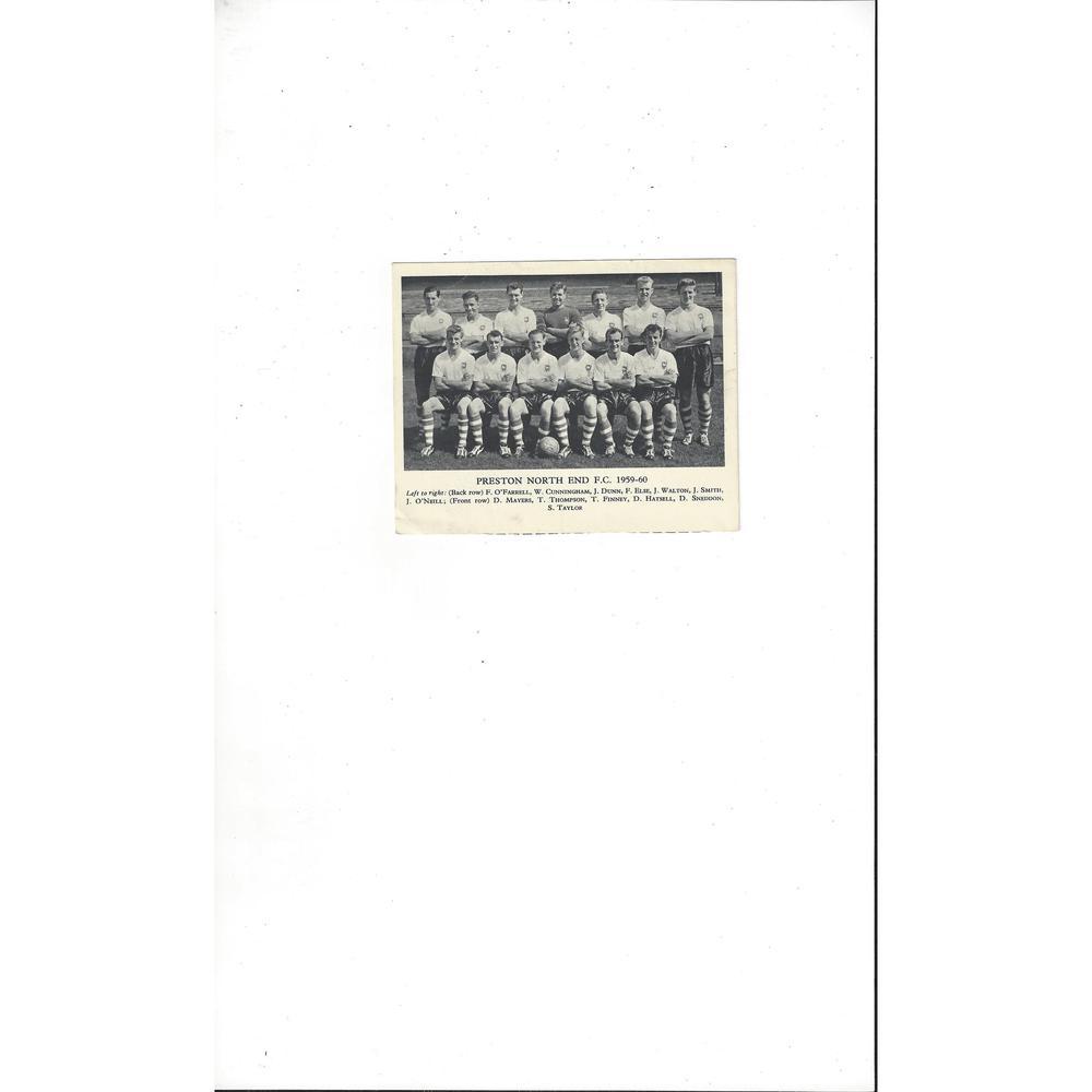 Preston Football Team Card 1959/60