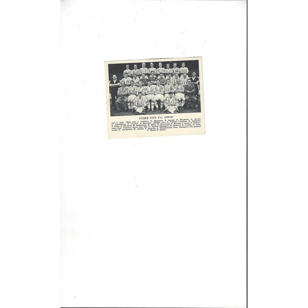 Stoke City Football Team Card 1959/60