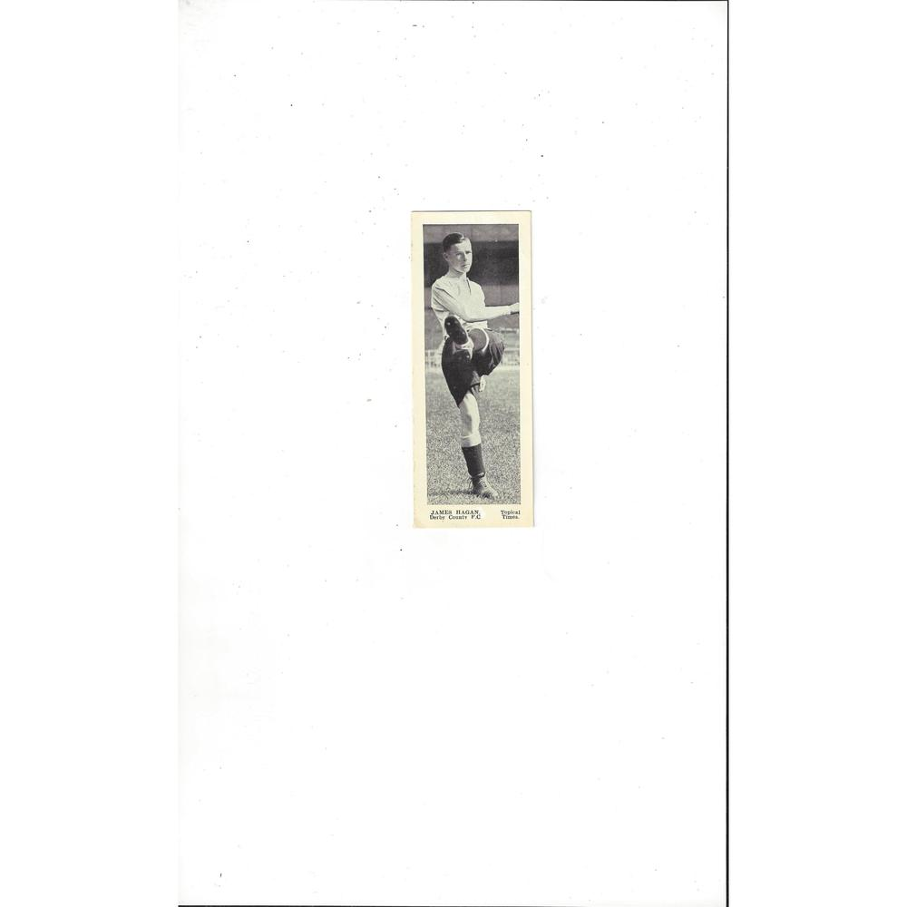 Topical Times Panel Portraits 1930's Football Card James Hagan Derby County