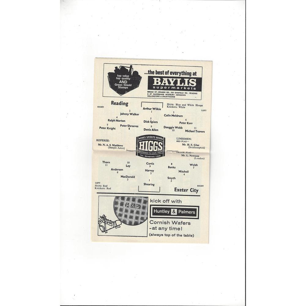 1964/65 Reading v Exeter City Football Programme April
