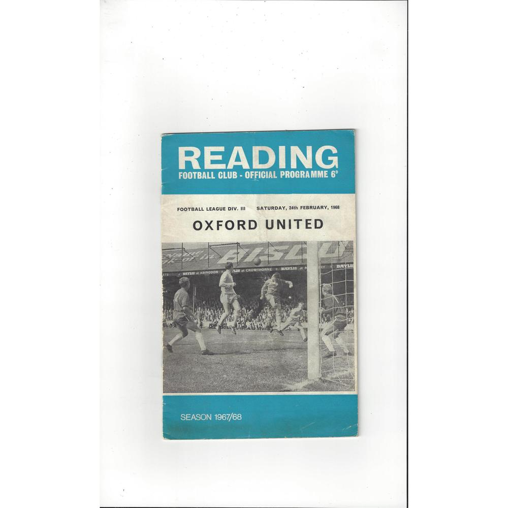 1967/68 Reading v Oxford United Football Programme + League Review
