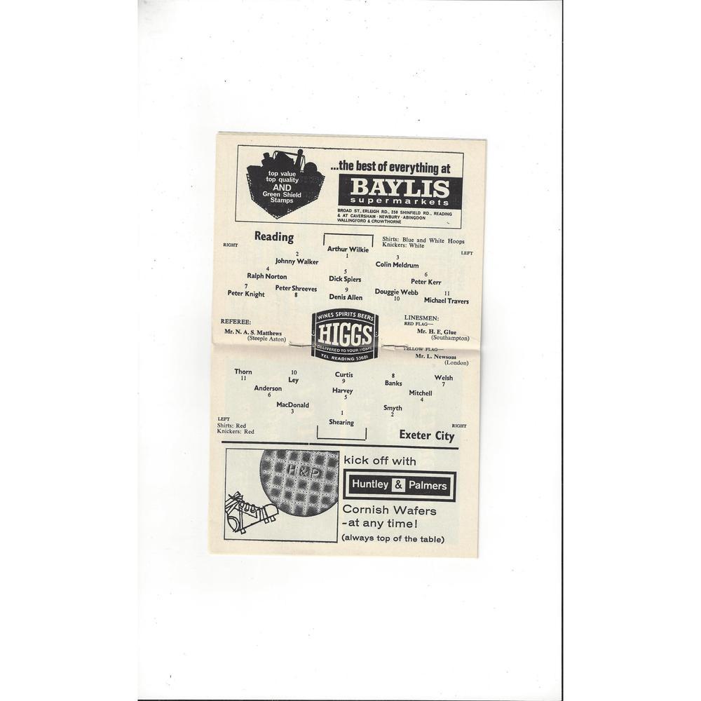 1964/65 Reading v Exeter City Football Programme December Postponed