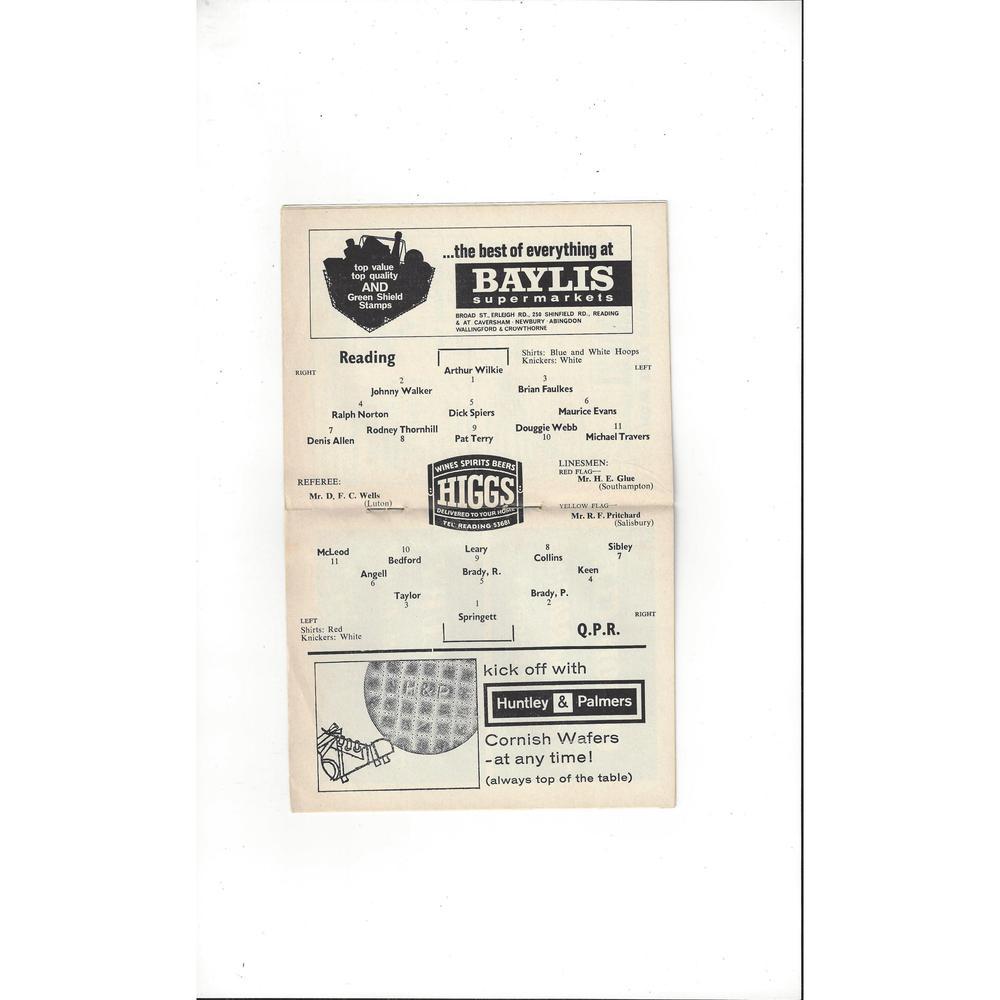 1964/65 Reading v Queens Park Rangers League Cup Football Programme