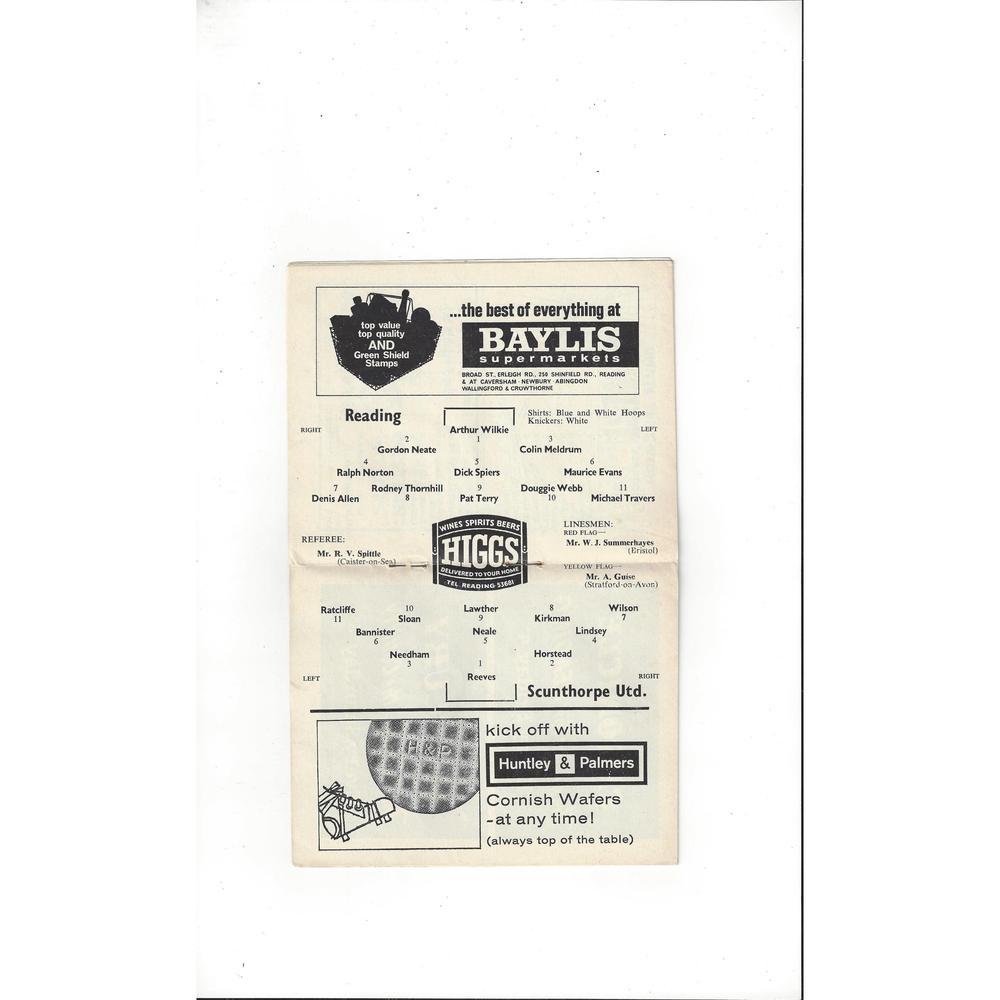 1964/65 Reading v Scunthorpe United Football Programme