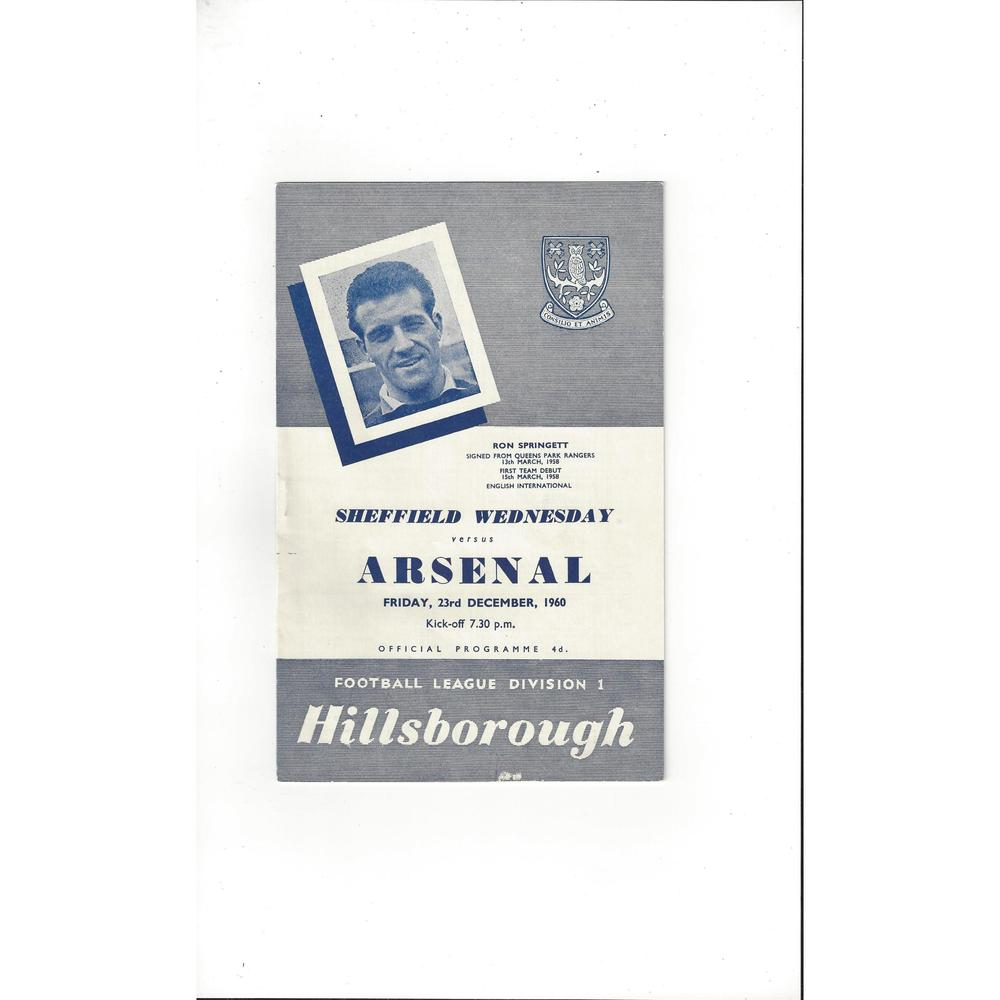 1960/61 Sheffield Wednesday v Arsenal Football Programme
