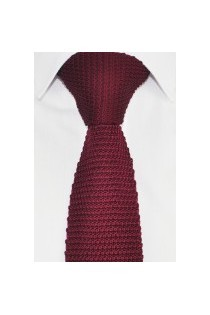 Knitted Tie, Wine Mens