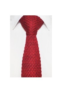 Knitted Tie Red, Mens