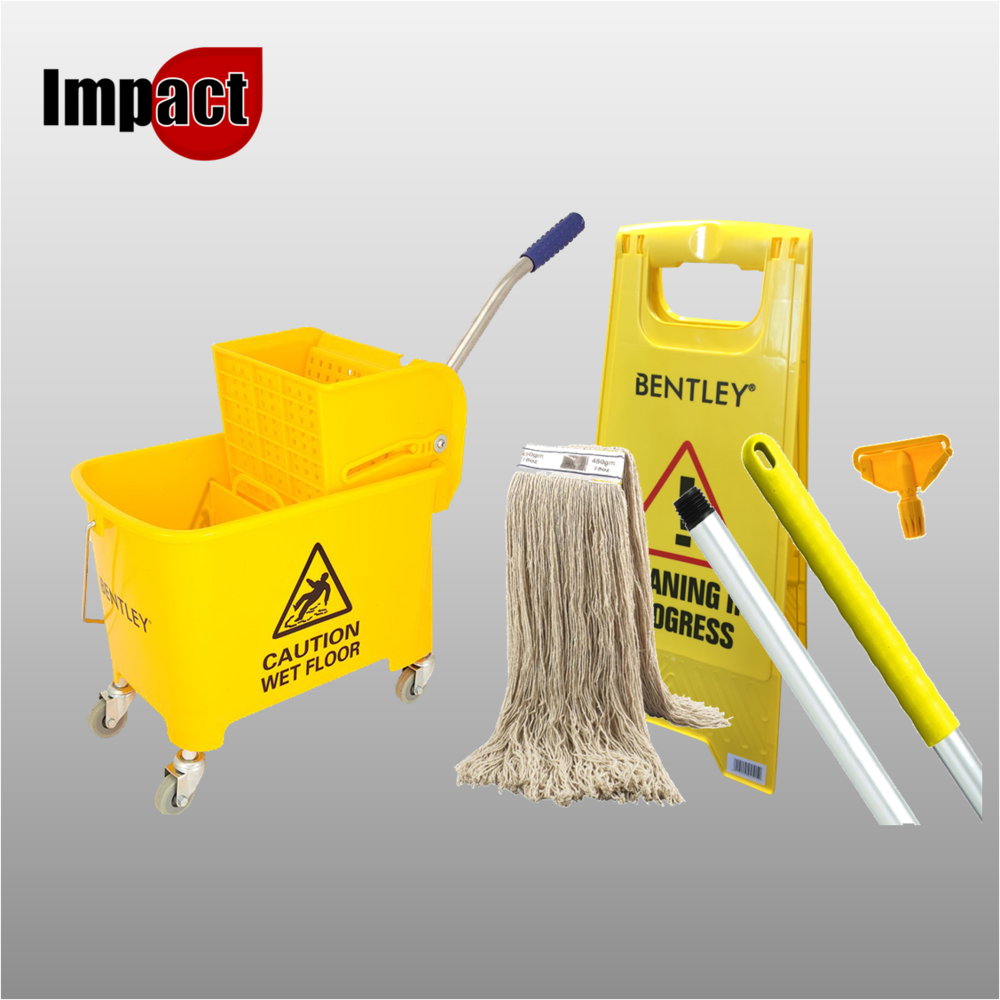 Kentucky Mop Bucket, Handle, Head and Wet Floor Sign.