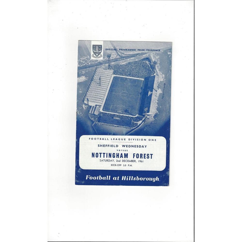 1961/62 Sheffield Wednesday v Nottingham Forest Football Programme