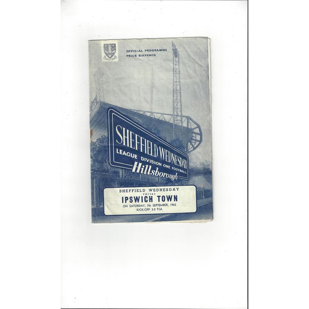 1963/64 Sheffield Wednesday v Ipswich Town Football Programme