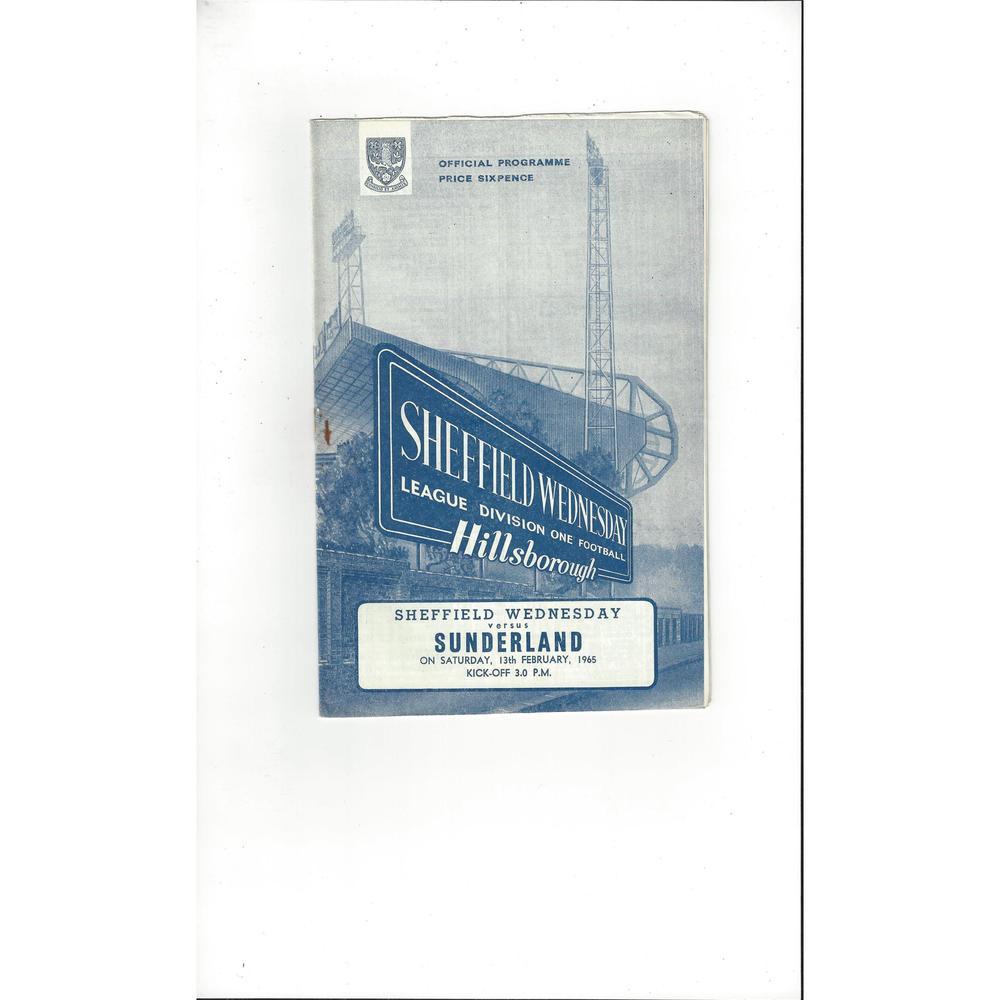 1964/65 Sheffield Wednesday v Sunderland Football Programme