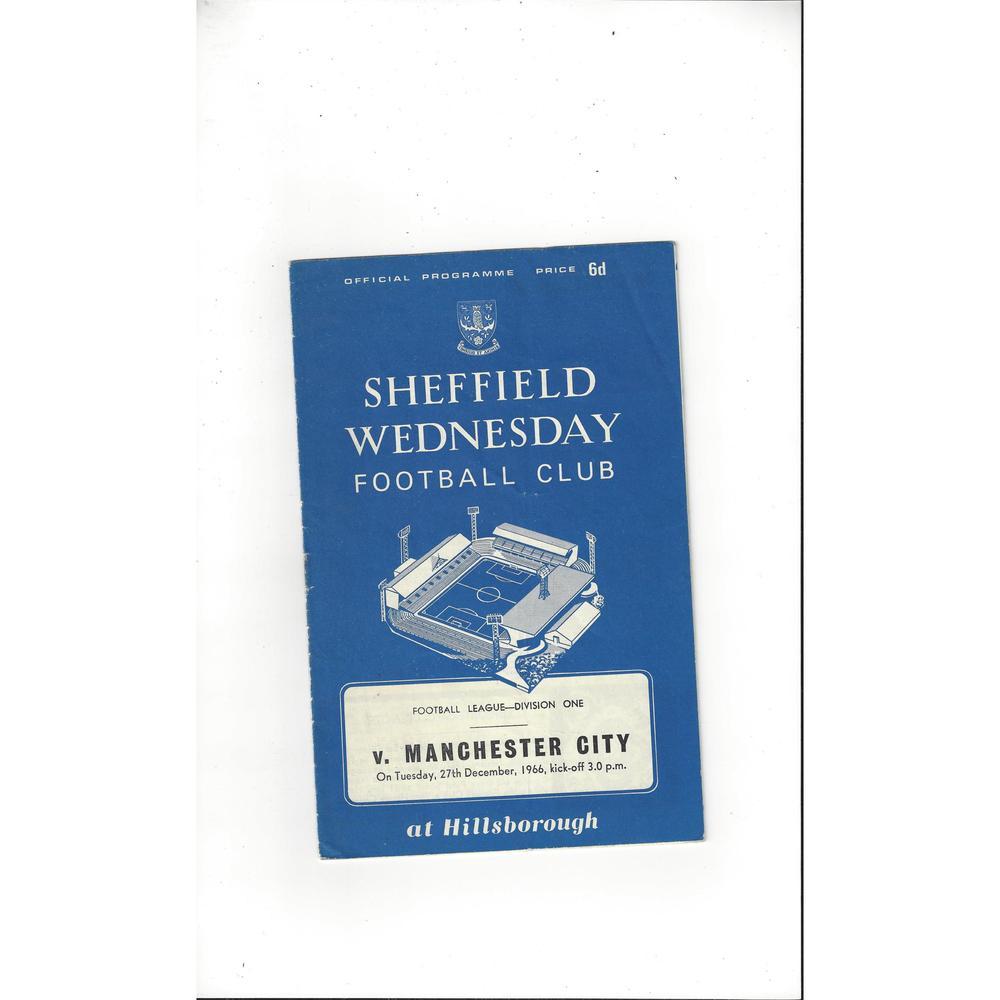 1966/67 Sheffield Wednesday v Manchester City Football Programme