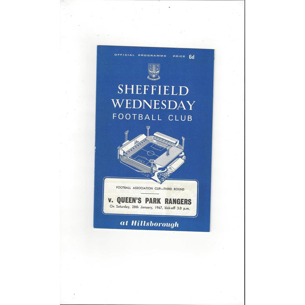 1966/67 Sheffield Wednesday v Queens Park Rangers FA Cup Football Programme