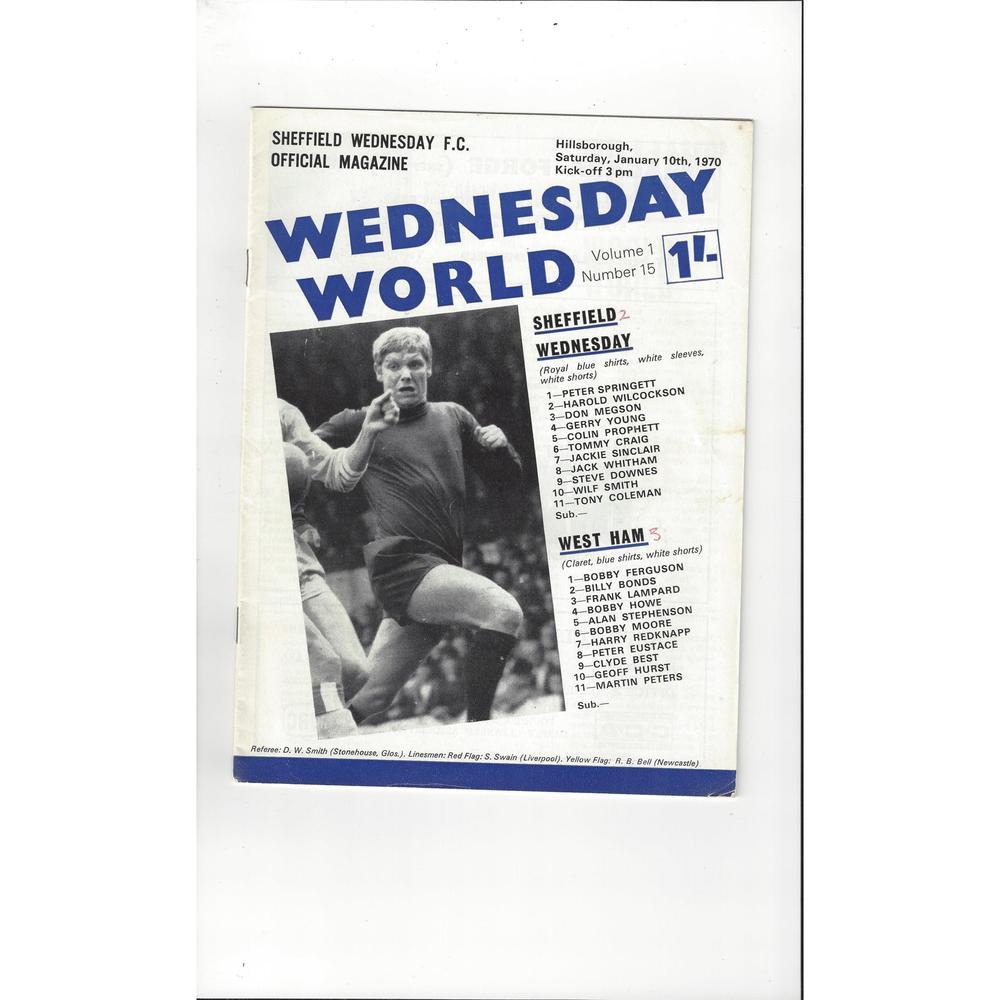 Sheffield Wednesday v West Ham United 1969/70